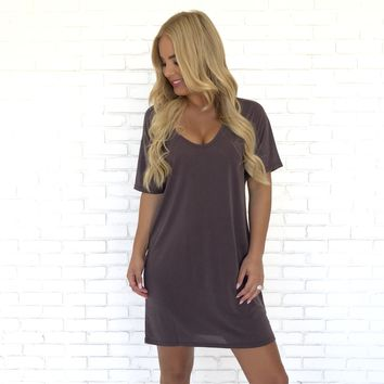 In a Daze Tee Shirt Dress in Plum
