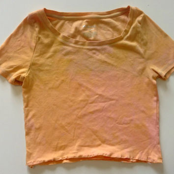 Orange Upcycled Crop Top Shirt Hipster Tumblr Grunge