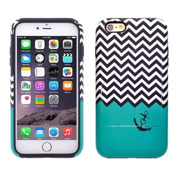 Apple iPhone 6/6s Plus Dual Layer Credit Card Hybrid Case With Design, ID Holder with Kickstand - Teal Anchor