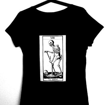 LA MORTE T-Shirt for woman,occult,tarot,death,goth,art,horror,witchcraft,magick,skull