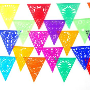 Cinco de Mayo, 5 Pack Banners, Paper Mexican Banner 53 ft Long, Aztec home decor, Paper picado Garland, Fiesta Decoration Papel Picado, B810