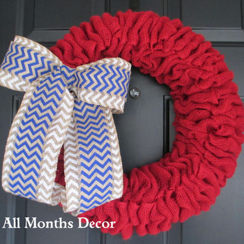 Red Burlap Wreath with Blue/White Chevron Burlap Bow, Patriotic, Memorial Day, 4th of July Independence Day, Military Wreath