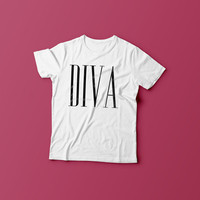 DIVA tshirt, printed shirt, fashion shirt, girls fashion tee, womens clothing
