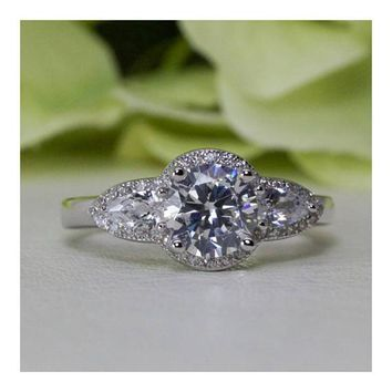 1.25 ct. Sterling Silver Vintage Style 3-Stone Halo CZ Promise Ring