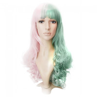 Curly Costume Party Cosplay Dual-use Long Wig Green and Pink DD-30 - Default