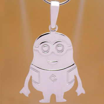 Impressive Solid 925 Sterling Silver Minion Pendant Minions Movie Stuart Kevin & Bob Charming Marvelous Children Kid's Handmade Handcrafted