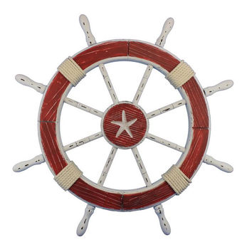 """Wooden Starfish Rustic Red And White Decorative Ship Wheel 30"""""""
