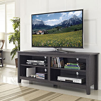 "58"" Charcoal Grey Wood TV Stand Console by Walker Edison"