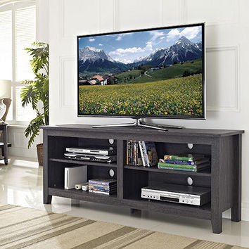 """58"""" Charcoal Grey Wood TV Stand Console by Walker Edison"""