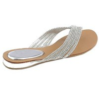 Kylie 09 Rhinestone Embellished Thong Flat Sandals Silver