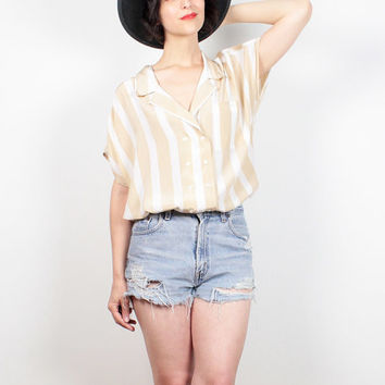 Vintage 80s Blouse Tan White Striped Secretary Shirt Double Breasted Draped Cap Sleeve 1980s Shirt Preppy Color Block Top M Medium L Large