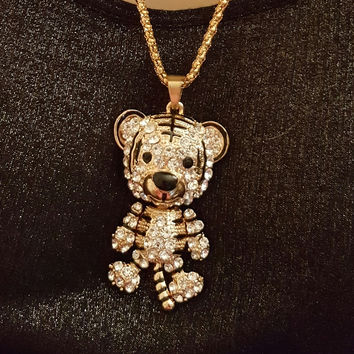 Betsey Johnson Gold Crystal Tiger Necklace