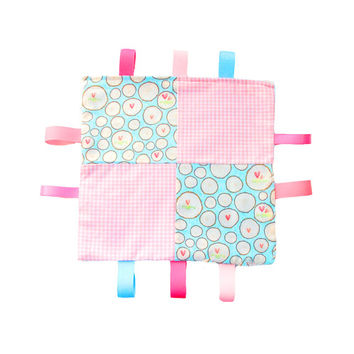 Tag Blanket Teething Blanket in Pink and Blue Patchwork