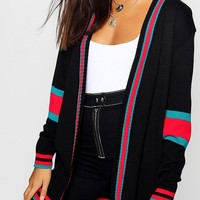 Sports Stripe Colour Block Boyfriend Cardigan | Boohoo