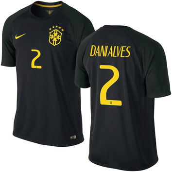 Brazil Dani Alves Nike 2014 World Soccer Replica Road Jersey - Black