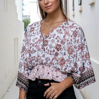 Second Chance Blue And Blush Flower Print Top