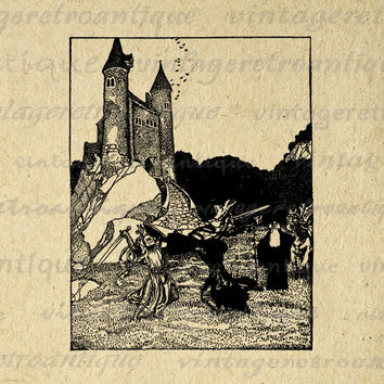 Battling Knights and Merlin the Wizard Digital Image Download Printable Graphic Vintage Clip Art for Transfers HQ 300dpi No.2883