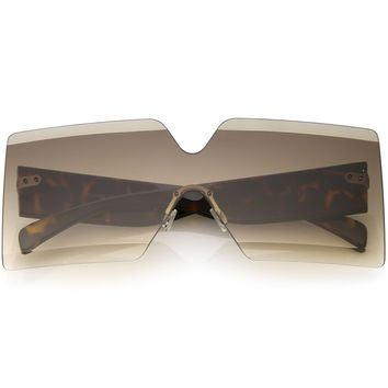 Oversize Rimless Shield Sunglasses Thick Arms Beveled Gradient Lens 73mm