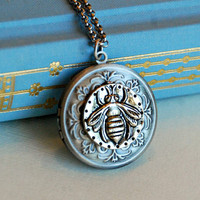 Silver Bee Locket Necklace, insect gardening nature summer round vintage antique style pendant photo message gift for her