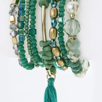 9 PC Jade Green Tassel & Beads Stretch Bracelets Set
