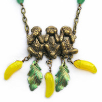 Monkey Necklace, Three Wise Monkeys, Metal Pendant, Charm Necklace, See No Evil, Hear No Evil, Speak No Evil, Yellow Banana Charms