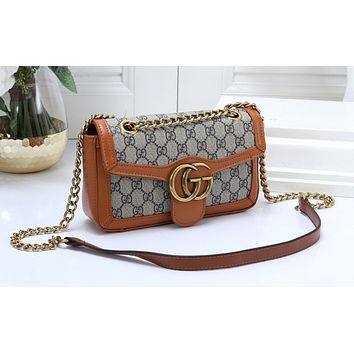 GUCCI Fashion Lady's One-shoulder Bag with Full-print Colour-matched Shopping Bag Brown