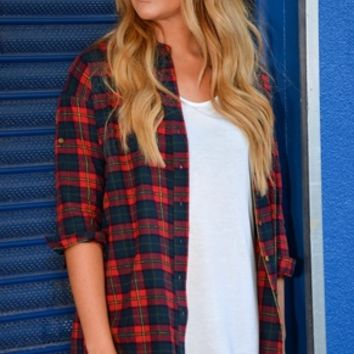 Nostalgia Tartan Oversize Red Shirt Dress