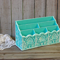 Organizer, Tiffany Blue, Aqua, White, Cosmetic, Desk, Art, Craft, Hand Painted, Upcycled Vintage, Makeup Caddy