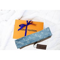LV Hair scarf Gucci Headband Women Accessory Trending B104475-1 Cowboy Blue no Knot