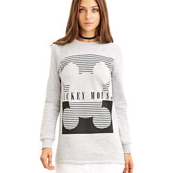 Mickey Mouse Print Crew Neck Cuff Long Sleeves Sweatshirt