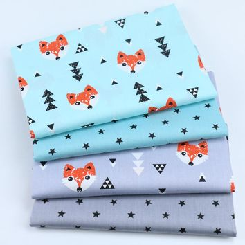 Fox Satrs Twill Printed Cotton Fabric Kids Home Decor Cloth Tissus Tilda DIY Sewing Crib Bedding Patchwork Cushion Quilting