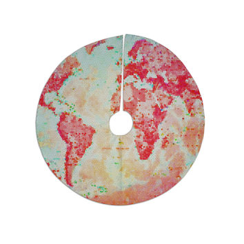 """Alison Coxon """"Oh The Places We'll Go"""" World Map Tree Skirt"""