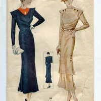 Vintage 1930s Simplicity 1292 Dramatic Gatsby Hour Glass Dress and Overskirt Sewing Pattern Bust 40