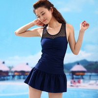 Lace small chest gathered skirt type one-piece bathing suit conservative significantly thin cover belly hot spring straight female swimsuit = 1958048324