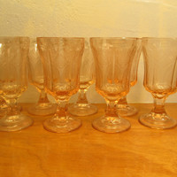 Pink Depression Glass Water Tumbler Set of Eight (8)