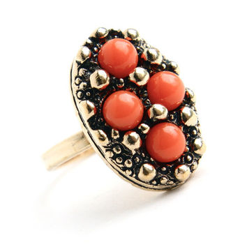 Vintage Orange Stone Ring -  Adjustable Gold Tone Signed Sarah Coventry 1970s Calypso Costume Jewelry / Salmon Orange Coral