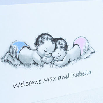 Twins Baby Thank You Cards. Baby Announcements. New Baby Cards. Thank You Card Sets.