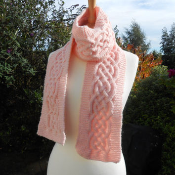 Hand knit scarf. Women's scarf. Cable knit scarf. Aran.  Knitwear. Long scarf. Winter accessory. Gift for her, Fashion scarf.  Pink scarf.