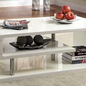 Furniture of america CM4057WH-C Ninove I white finish wood modern twist coffee table