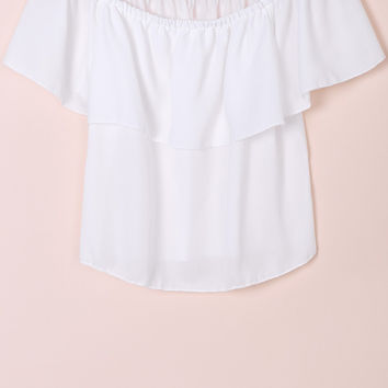 White Slash Neck Ruffled Chiffon Blouse
