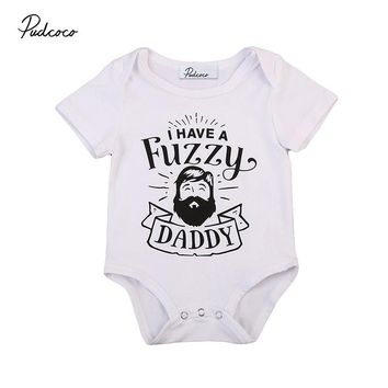 Fuzzy Daddy Newborn Infant Baby Boy Girl Short Sleeve Cotton Romper Causal Toddler Kids Jumpsuit Outfits Clothes 0-24M