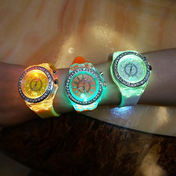 ca55c5a3e84f9 Flashing Light up Color Changing LED Silicone Jelly Watch Gift