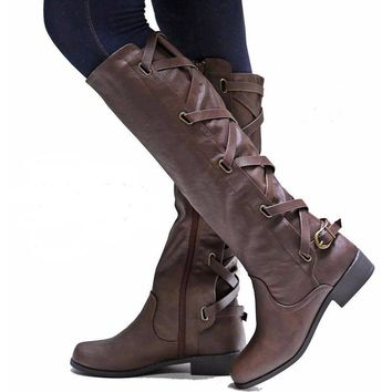 Women Boots Winter Calf Mid / Over The Knee High Leg Boots Mid Heel / Flat Shoes