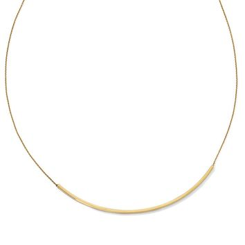 14k Yellow Gold Polished 2mm Curved Bar Necklace, 16-18 Inch