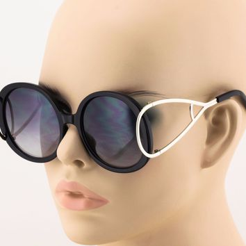 2 PAIR VINTAGE RETRO Style SUN GLASSES Unique Round Black & Gold Fashion Frame