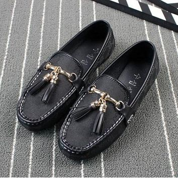 GUCCI Fashion Ladies Leisure GG Letter Print Sing Shoe Tassel Bean Shoe Flat Canvas Shoes Sandals Black