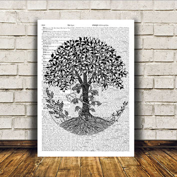 Dictionary print Oak tree poster Modern decor Nature art RTA61