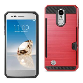 New LG Aristo/ Fortune/ Phoenix 3 Slim Armor Hybrid Case Card Holder In Red