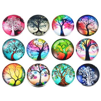 12PCs Fixed Mixed Printing Tree Pattern Glass 18mm