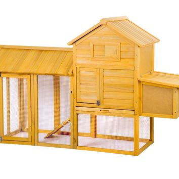 83'' Wooden Chicken Coop Backyard Nest Box Hen House Rabbit Wood Hutch 83